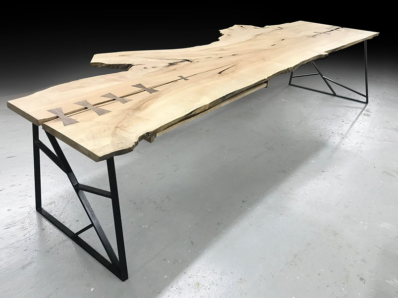 live edge desk made from natural wood slab. Fallen tree furniture. Shown in maple