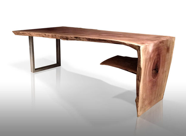 natural wood slab waterfall coffee table. Live edge.