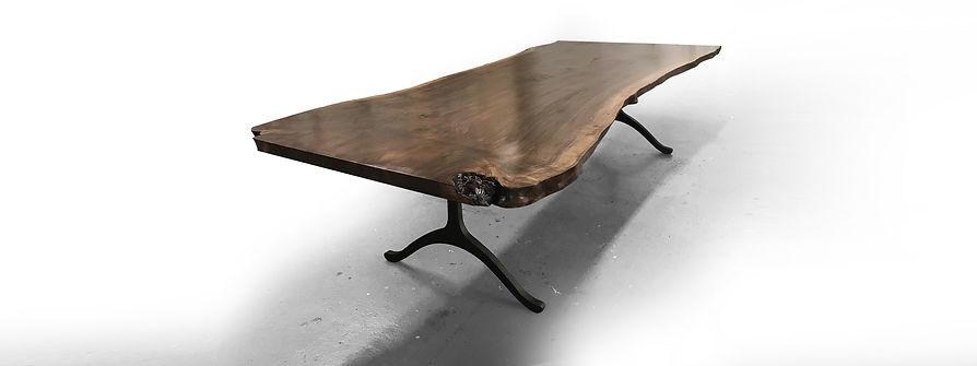 Live edge walnut table with wishbone legs