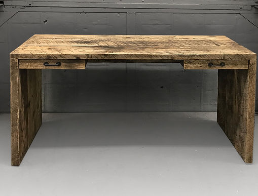Reclaimed wood desk. Gowaus Desk made from reclaimed wood. Custom made industrial office furniture. Made in Brooklyn NYC.