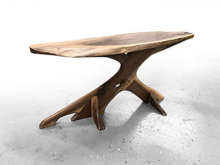 Live edge walnut coffee table with root-like base