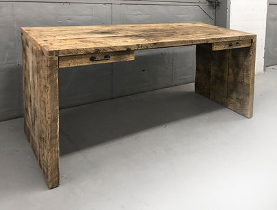 Reclaimed wood desk. Gowaus Desk made from reclaimed wood. Custom made industrial office furniture. Sliding drawers.