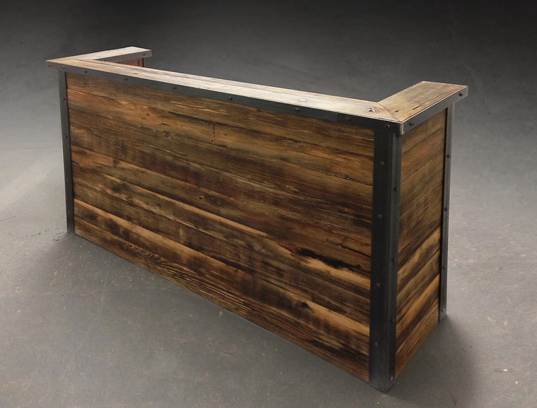 Reclaimed wood bar, personal industrial style mini wet bar
