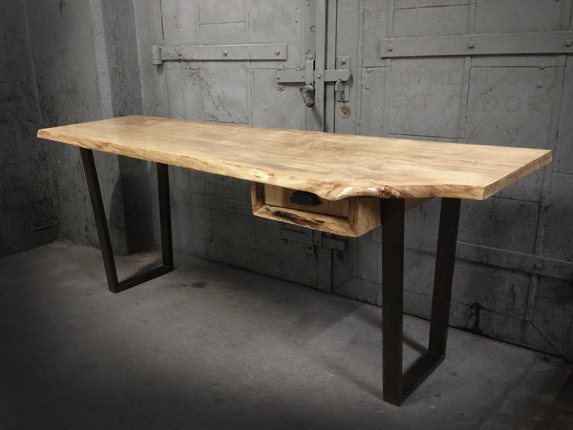 live edge desk made from natural wood slab. Shown in maple