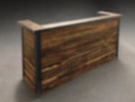 Reclaimed wood reception desk. Custom made industrial office furniture. Blackened steel framing.