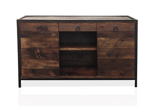 Reclaimed wood credenza and cabinet with drawers