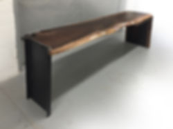 live edge waterfall desk made from natural wood slab and industrial base..