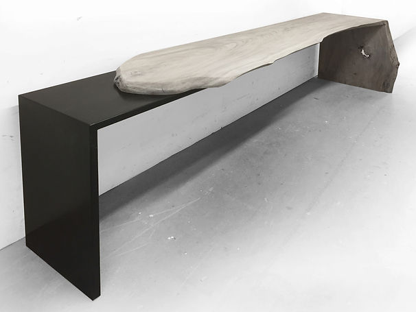 live edge waterfall console made from natural wood slab and modern steel base..