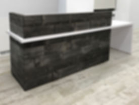 Reclaimed wood reception desk. Custom made industrial office furniture. Blackened steel framing.