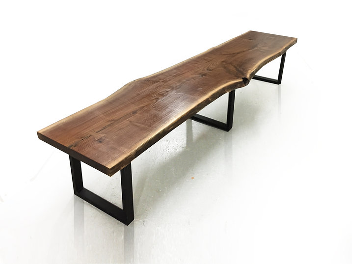 live edge walnut bench or coffee table with modern steel legs