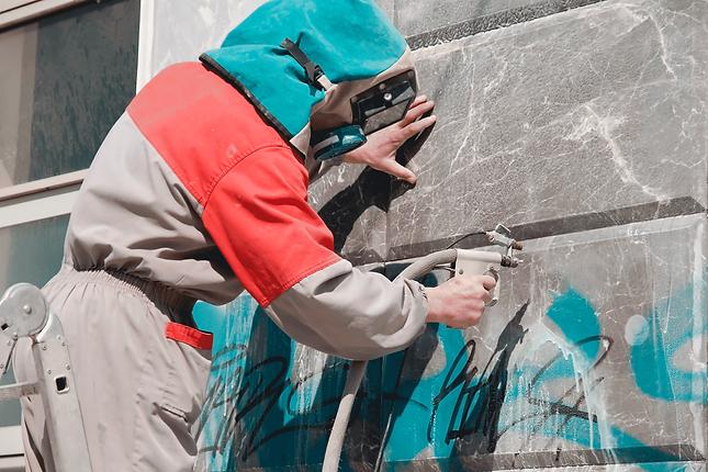 Soda blast grafiti