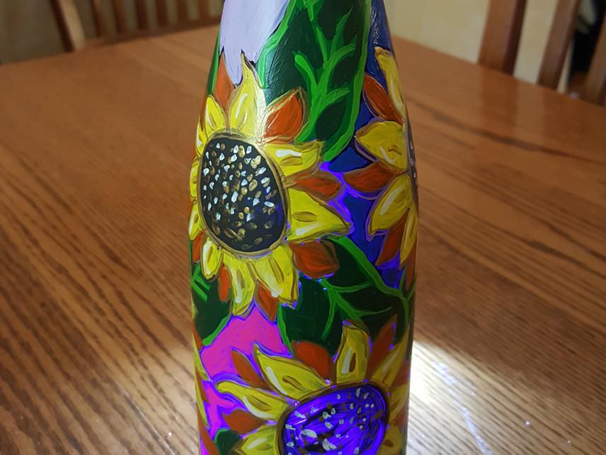 Lit Wine Bottle