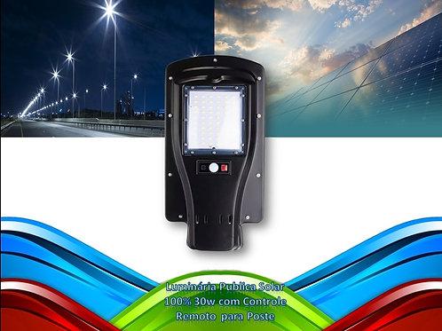 Luminaria Publica Solar 100% 30w C/controle Remo. Bf P/poste