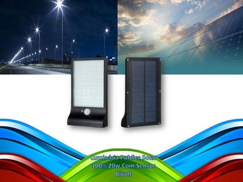 Luminaria Publica Solar 100% 20w Com Sensor Bf Bivolt