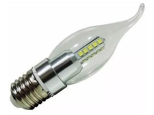 6 Lampadas Led Vela Cristal Bico E27 4w Branco Frio Bivolt