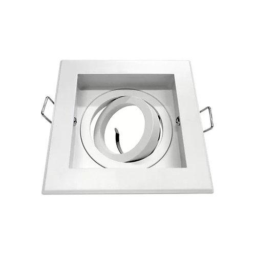 3 Spots Quadrado Branco Para Lampada Dicroica Fixo