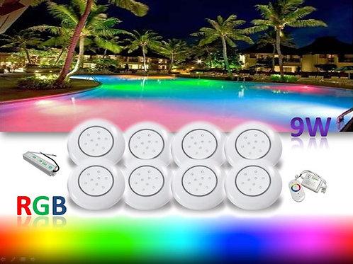 11 Refletor Piscina Rgb 9w Controle Fonte 12v 20,83a Blindad