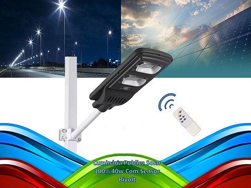 Luminaria Publica Solar 100% 40w C/controle Remo. Bf P/poste