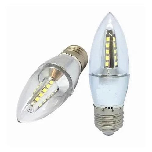 12 Lampadas Led Vela Cristal E27 4w Branco Quente Bivolt
