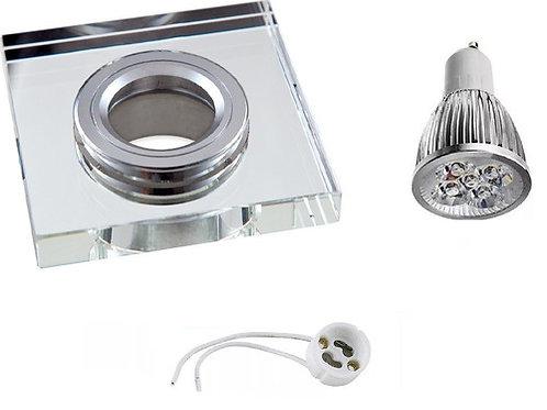 24 Spots Espelhado Led+ Lamp Dicroica 5w Bq+ Soquete Gu10