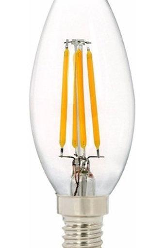 10 Lampada Led Vela Filamento E14 4w Branco Quente