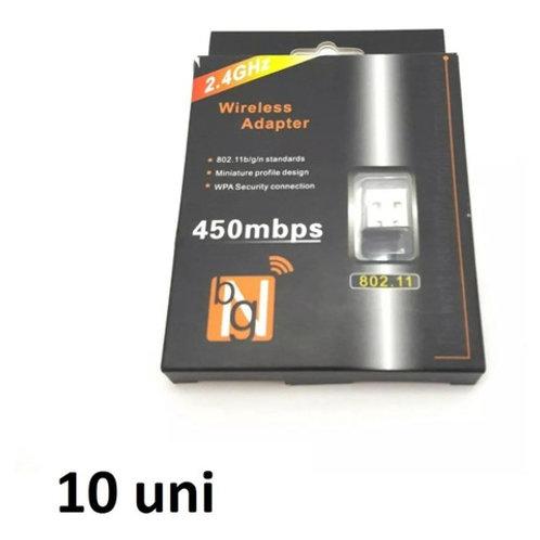 10 Adaptador Receptor Wireless Usb Wi-fi 450mbps