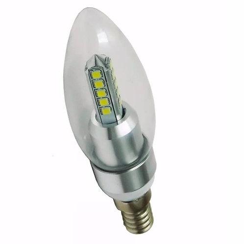 20 Lampadas Led Vela Cristal E14 5w Branco Quente Bivolt*