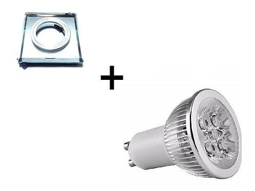 Kit Lampada Dicroica Gu10 5w Bq+spot Quadr Espelhado Bq