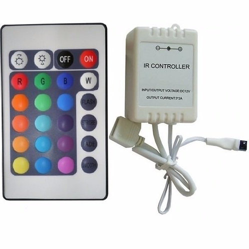 100 Controlador C/controle 24 Teclas P/fita Rgb 5050/3528