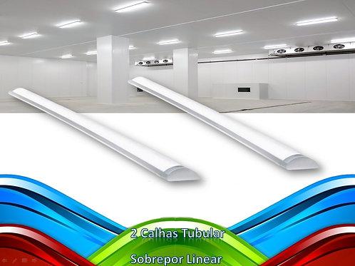2 Lampadas Led Tubular Sobrepor Linear Calha 1,50mt 45w Bf