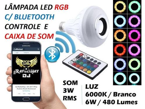 2 Lampadas Led Musical Rgb C/bluetooth Caixa De Som