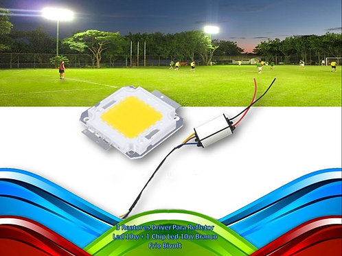 3 Reatores Driver P/refletor Led 10w + 1 Chip Led 10w Bf Biv