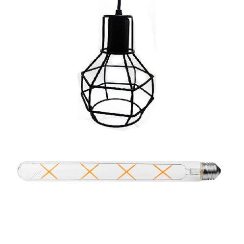 Pendente C/ Lamp Led Filamento T30 20cm 8w Bv Bq