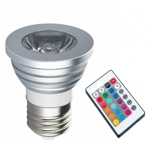 10 Lampadas Led Dicroica Rgb 3w E27 Bivolt