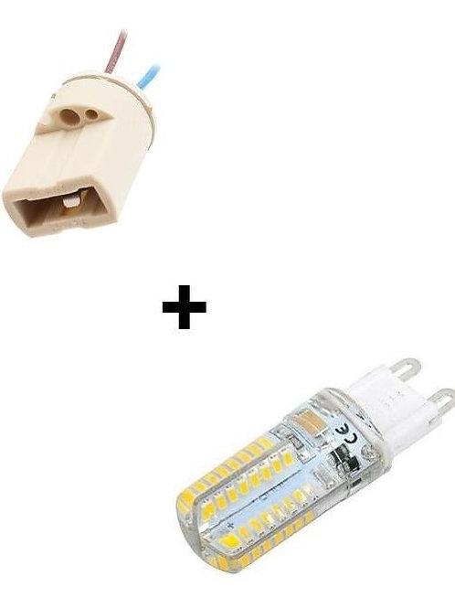3 Lampadas Led Halopim G9 3w Bq Bivolt + 3 Soquete G9