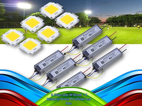 6 Chips 50w Bf Bivolt +6 Reatores Driver P/refletor Led 50w