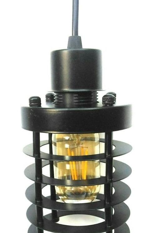 Pendente Gaiola Design Preto+filamento T45 E27 Cristal Jf788