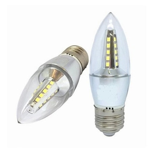 5 Lampadas Vela Super Led 4w Bivolt E27 Cristal Bf