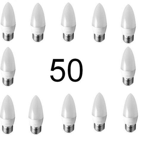 50 Lampadas Led Vela Leitosa E27 5w Branco Frio Bivolt