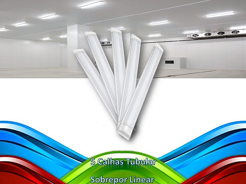 5 Lampadas Led Tubular Sobrepor Linear Calha 1,20mt 36w Bf