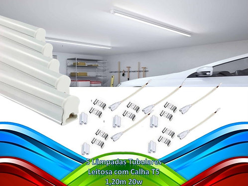 5 Lampada Tubular Leitosa C/calha T5 1,20m 20w Bf Bivolt