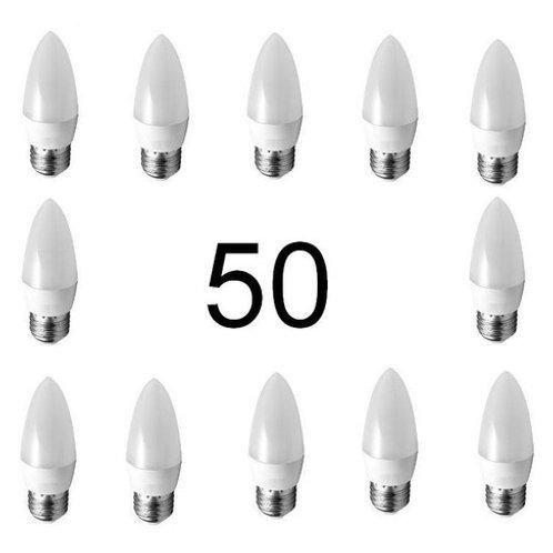 50 Lampadas Led Vela Leitosa E27 5w Branco Frio Bivolt*