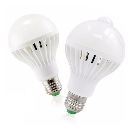 5 Lampada Bulbo Led C/sensor De Presenca 9w Branco Frio Biv