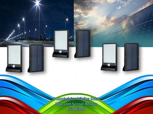 3 Luminarias Publica Solar 100% 20w C/sensor Bf Bivolt