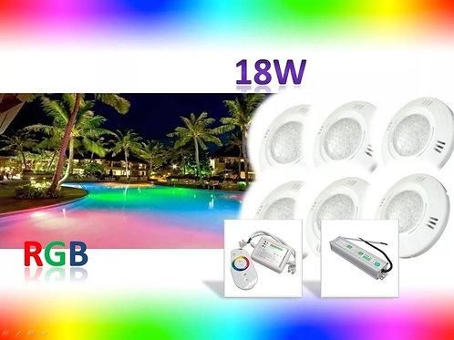 Kit 6 Refletor Piscina Rgb 18w Controle 2x Fonte 12v 5a Blin
