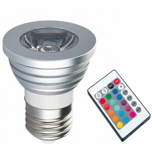 30 Lampadas Led Dicroica Rgb 3w E27 Bivolt