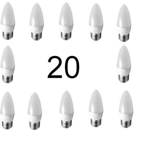 20 Lampadas Led Vela Leitosa E27 5w Branco Frio Bivolt