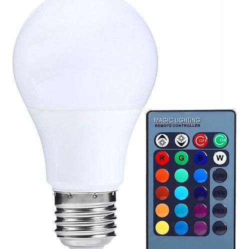 3 Lampadas Led Bulbo C/ Controle E27 5w Rgb Bivolt