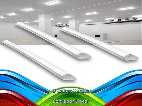 3 Lampadas Led Tubular Sobrepor Linear Calha 60cm 20w Bf