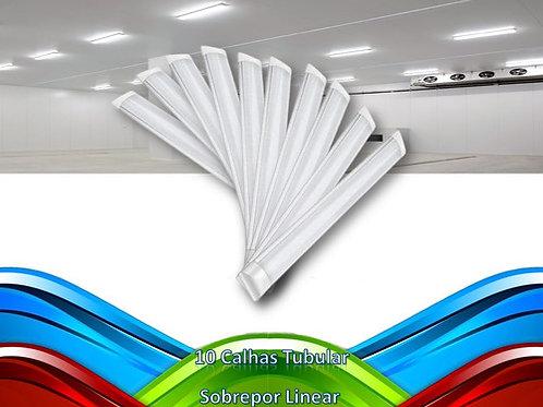 10 Lampadas Led Tubular Sobrepor Linear Calha 1,50mt 45w Bf